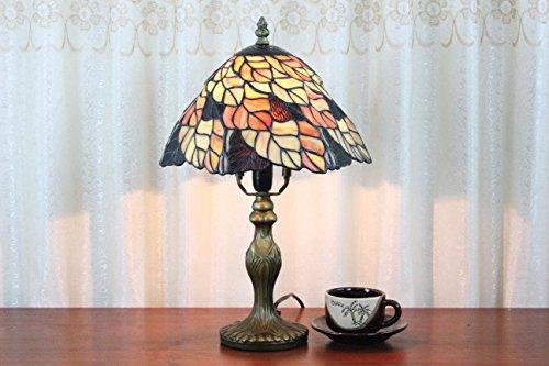 Gold Leaf 8 Licht (8-Zoll-Pastoral Buntglas Tiffany Gold Leaf Tischlampe Schlafzimmer Lampe Nachttischlampe)