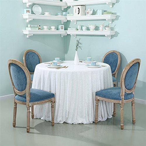 Zdada Runde Tischdecke Weiß Glitzernden Pailletten Glitzer Pailletten Bankett-Tischhusse Bettwäsche für Elegante Hochzeit Party decoration-90inch