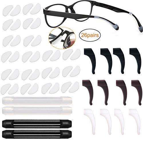 18 Paar Klebstoff Brillen Nasenpads Rutschfeste Silikon Brillenpads mit 8 Paaren Silikon Anti Rutsch Brille Ohrbügelhaken Halter Bügelhaken überzug Spitze für Gläser Sonnenbrille Brillen(Klar,1mm)
