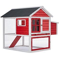 oneConcept Villa Gallo gallinero (casa de gallinas con 2 espacios, ponedero lateral, techo plegable resistente intemperie, fácil recogida de huevos, madera barnizada) - rojo