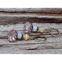 Vintage Ohrringe mit Glasperlen - rosa & bronze