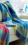 Lorenzo Cana Luxus Wolldecke Wohndecke aus flauschiger Wolle Cottage Landhaus Decke 100% Wolle Sofadecke Kuscheldecke Türkis Grün Gelb 130 cm x 200 cm 96167