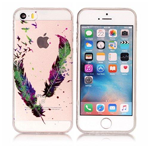 Apple iPhone SE 5 5S Hülle, SATURCASE Schönes Muster Bling Ultra Dünn Weich TPU Gel Silikon Schützend Zurück Case Cover Handy Tasche Schutzhülle Handyhülle Hülle für Apple iPhone SE 5 5S (Muster-2) Muster-1