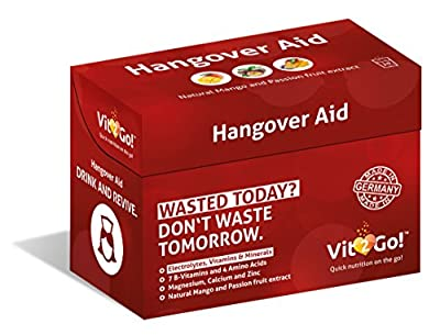 10-Pack VitGo! Hangover* Aid (*Electrolyte imbalance, tiredness and fatigue) - Food supplement for Rehydrating and Resupply of Nutrients - With Essential Electrolytes & Minerals + 7 B-Vitamins and 3 Amino Acids + Magnesium + Vitamin C and Zinc + MADE IN G