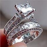 GARDENYEAR Frauen Jahrgang Diamant Silber Engagement Ehering Ring Set
