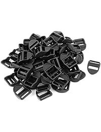 sourcingmap® Plastique Sangle Échelle Coulissant Boucles Serrure 20mm 50 Pièces Noir