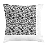 JIEKEIO Abstract Throw Pillow Cushion Cover, Modern Abstract Ornament with Leaf-Like Geometric Modules Repeating Pattern, Decorative Square Accent Pillow Case, 18 X 18 inches, Black and White