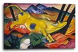 Franz Marc - Gelbe Kuh (1911), 120 x 80 cm (weitere Größen verfügbar), Leinwand auf Keilrahmen gespannt und fertig zum Aufhängen, hochwertiger Kunstdruck aus deutscher Produktion (Alte Meister bis Moderne Kunst). Stil: Abstrakte Malerei, Abstrakte Kunst, Expressionismus