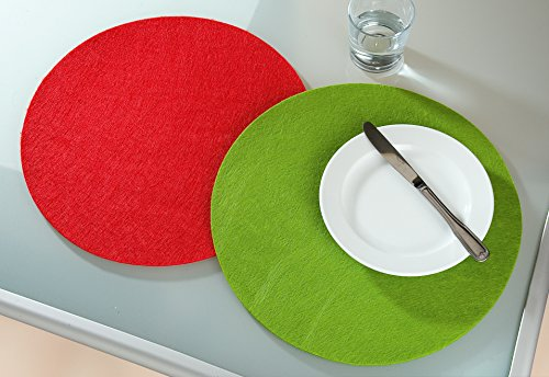Guilde feutre Set de table rond rouge 1 Ø 35 cm
