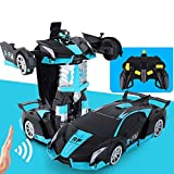PETRLOY 1:14 escala de control remoto de coches con un solo botón Transforming Toys 2.4GHZ RC Car 360 ° Rotación con detección de gestos Función de deformación Robot cargable Cars Kit Toy para niños N
