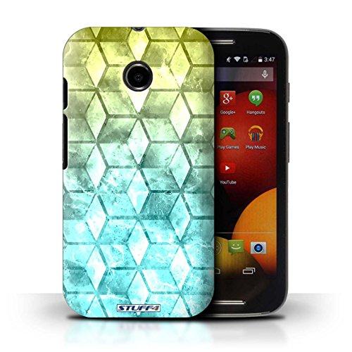 Kobalt® Imprimé Etui / Coque pour Motorola Moto E (2014) / Jaun/Bleu conception / Série Cubes colorés Jaun/Bleu