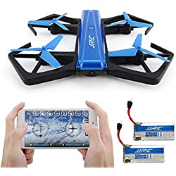 Drone Pieghevole, Kingtoys JJRC H43WH 720P WIFI Camera con Auto Beauty Mode, G-sensor Model, Altitude Hold RC Quadcopter (2 pcs Batteria) , Blue