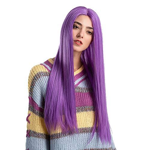 RYcoexs Modische lange gerade violette Perücke synthetisches Haar Club Partei Frauen Dessert Dekoration Violett Dessert-club