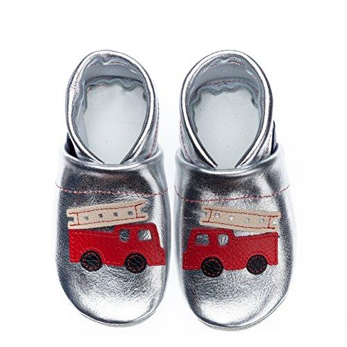 pantau.eu Kinder Lederpuschen Krabbelschuhe Lauflernschuhe mit Feuerwehr Silber-Rot-Beige