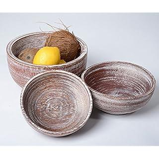Amaris Elements | Black–Belmondo 'Coconut Wood Set of 3Modern Taupe Bowls, Clay Pot