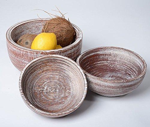 Amaris Elements | Coque 'Belmondo' Noix de Coco Bois, Lot de 3, moderne Marron Gris Bols, Römer de pot