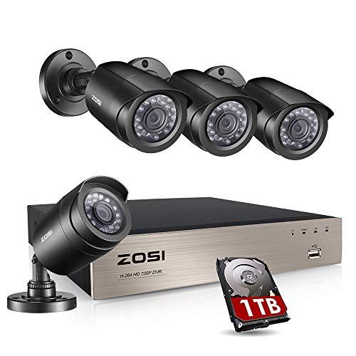 ZOSI 4CH 720P Außen Überwachungskamera System mit 1TB Festplatte HDMI DVR Plus 4 Wetterfest 1,0MP Kamera für Haus Sicherheit -