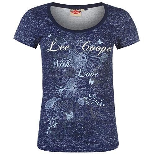 Lee Cooper Damen Texturiert T Shirt Tee Top Kurzarm U Ausschnitt Freizeit  Marineblau Marl