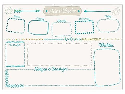 Schreibtischunterlage Modernes Design - Aufschrift Meine Woche - DIN A3, aus Papier zum Abreißen, 25 Blatt Schreibunterlage