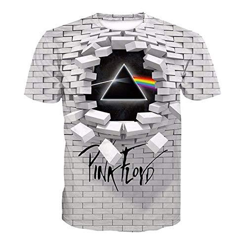 Effekt-jugend-t-shirt (Fang T-Shirt, Herren 3D Pink A Floyd Bedrucktes, kurzärmliges, weites T-Shirt mit Rundhalsausschnitt Lovers)