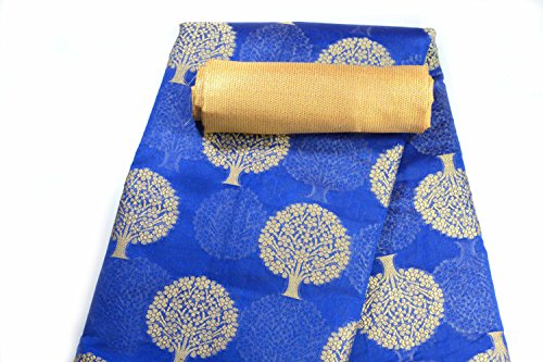 Apple Blossom Chanderi Cotton Tree Design Weaved Saree with blouse (Blue)