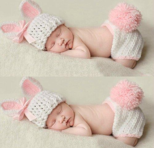 Cute Baby Newborn Infant handgefertigt Crochet Beanie Hat Lapin Mignon Stil Baby Kleidung fotografiert Zubehör, Cartoon Fashion Kinder Fotografie Requisiten Foto Requisiten Kostüm Kleidung tragen, tragen (geeignet für Babys 0–6Monate bis)