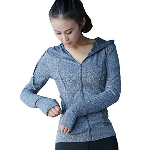 Sentao Damen Reißverschluss Langarmshirt Sport Funktionsshirt Yoga Fitness Laufen Kapuzenjacke