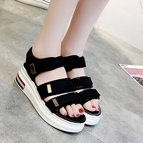 XY&GKWomen's Sandalen Frauen flach in der Talsohle Frauen Schuhe Casual Sport Dicke Sohlen Schuhe 35 black