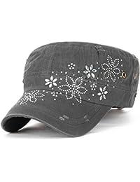 ililily Kristall Gemstone Stollen Blumenmuster klassischer Stil Baumwolle Militär Armee Hut Kadett Cap