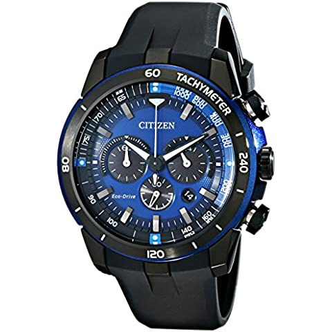 Citizen CA4155-12L Men's Ecosphere Blue Dial Eco-Drive Chronograph Watch - Citizen Eco Drive Mens Chronograph