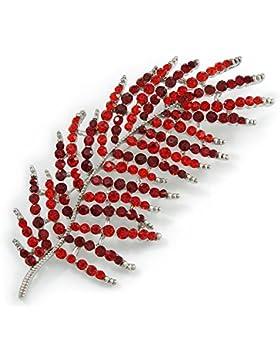Wunderschöne, große Rot/Burgund Kristall Leaf Brosche in Silber Tone–90mm