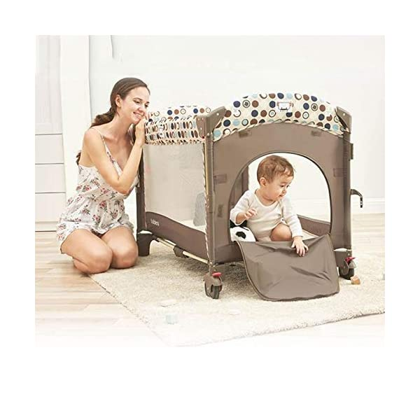 ZXCVB Crib Travel Multifunctional Crib Travel Cots with Mattress Ice Silk Mat Diaper Table Game Bed Portable Folding Suitable for Children Up to 36 Months ZXCVB 【MATERIAL】High quality PP plastic,alloy steel pipe,environmentally friendly TD cloth,breathable mesh, soft and comfortable, free of paint formaldehyde, wear-resistant, dirt-resistant, durable, care for your baby's body and healthy growth 【size】110*65*70cm 【2-IN-1 BABY TRAVEL COT】There are two layers on this baby travel bed, the top layer is suitable for feeding and resting, and the bottom layer is ideal for crawling or learning to walk. You can use our infant cot in various kinds of places according to your different needs. 2