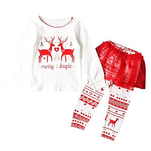 Allouli Baby Little Girls Trouser Set Deer Printed Long Sleeve Sweatshirt Top + Leggings Pants For Kids Christmas Clothes Set (Old Navy-yoga-hosen)