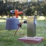 Steckdosensäule mit 2 Schukosteckdosen | Energiesäule aus Edelstahl | Außensteckdosen mit Flachdach | Schukosteckdosen mit Klappdeckel