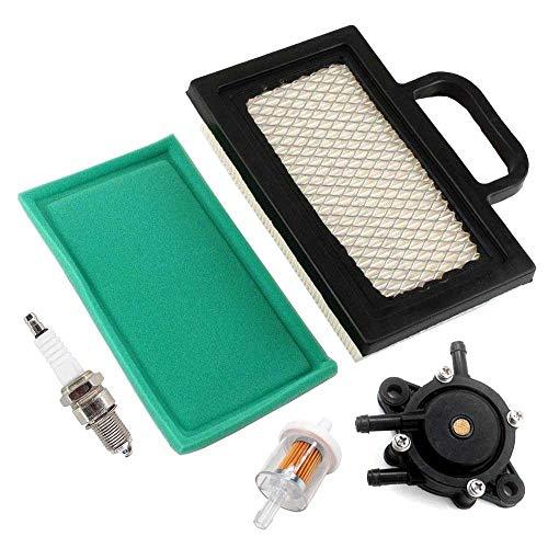 AISEN Filtro aria con pompa benzina, candela di accensione per motore Briggs & Stratton 14-24 PS 698754 499486 499486S 808656 691007 tosaerba John Deere GY20575 LG499486S