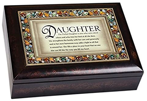 The Perfect Daughter Italian Style Burlwood Finish Decorative Jewel Lid Musical Music Jewelry Box - Plays What a Wonderful World by Cottage Garden