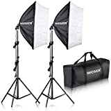 Neewer 700W Pro Fotografía Kit de Iluminación de Luz Softbox   - 2 Packs 60×60 centímetros Softbox con Zócalo E27 para Retratos de Estudio Fotográfico, Fotos de Productos y Videos