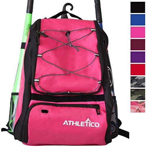 Athletico Baseball Bat-Tasche - Rucksack für Erwachsene, Baseball-Ball Softball-Ausrüstung, für Kinder-, Jugend-, und | Schuhe, Fledermaus, Helm-Handschuh und Extra-Fach, mit Haken, magenta -