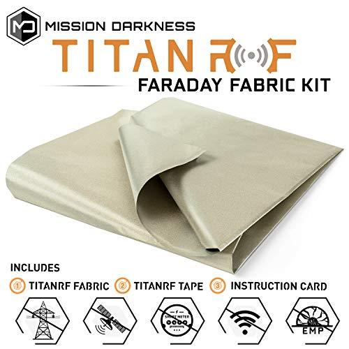 "TitanRF Faraday Fabric. emi Shielding, RFID Shielding, Cell Phone Block, WiFi Block, Bluetooth Block. Military Grade Shielding Fabric. 44"" x 36"" / 11sq. ft. / 1.22 Sq. Yds."