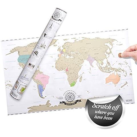Scratch off World Map XXL - Mapa del mundo para rascar - viajeros personalizado Póster