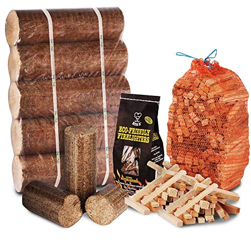 FIRE PIT CHIMINEA STARTER PACK Large Wood Heat Fuel Logs, 3kg Kindling + Eco FireLighters - Comes with THE LOG HUT� Woven Sack.