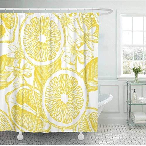 HHYSPA Duschvorhang Baum Mit Zitrusfrüchten Zitrone Tropische Zeichenlinie Blume Badezimmer Dekor Mit 12 Haken 71X71 Inch - Zitrusfrüchte Bäume