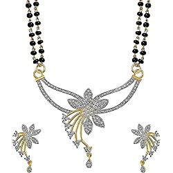 Cardinal American Diamond Mangalsutra Pendant Set With Earring For Women