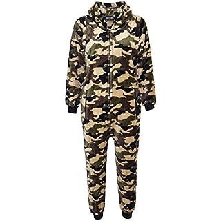 A2Z 4 Kids® Kids Girls Boys Onesie Extra Soft Fluffy Zebra All in One - Camouflage Green - 11-12 Years