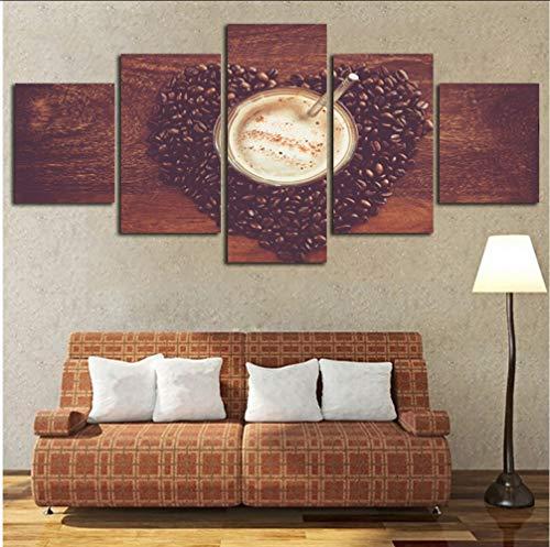 syssyj Kein Rahmen Dekoration Poster Rahmen Wohnzimmer Wand 5 Panel Kaffeebohnen Trinken Moderne Malerei Auf Leinwand Kunst Bilder Hd Gedruckt