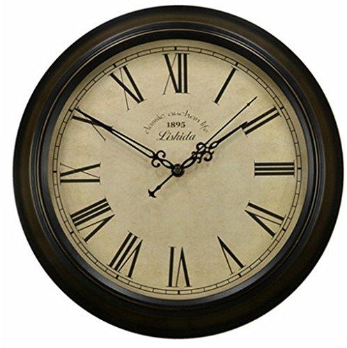 Guoey salone di mobili di antiquariato orologio a parete semplice retrò orologio da parete in modalità mute (dimensioni: 16)