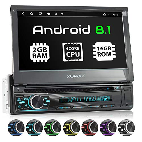 XOMAX XM-DA755 Autoradio mit Android 8.1, QuadCore, 2GB RAM, 16GB ROM, GPS Navigation, DVD, CD I Support: WiFi WLAN, 3G 4G, DAB+, OBD2 I Bluetooth, 7 Zoll / 18 cm Touchscreen, USB, SD, AUX, 1 DIN