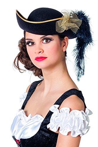 Jannes 9653 Piraten-Dreispitz Deluxe für Damen mit Tüll gold unf Plüsch Schwarz Einheitsgröße Schwarz (Deluxe Captain Jack Sparrow Pirate)