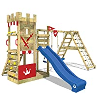 WICKEY Climbing Frame Smart Crown Playground Climbing Castle with Slide and Swings, Climbing Extension, Extra Broad Platform and Large Sandpit, Blue Slide + red tarp