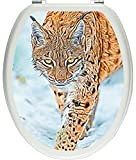 Pixxprint 3D_WCs_3383_32x40 wachsamer Luchs im Schnee als Toilettendeckel Aufkleber, WC, Klodeckel, gläzendes Material, bunt, 40 x 32 cm